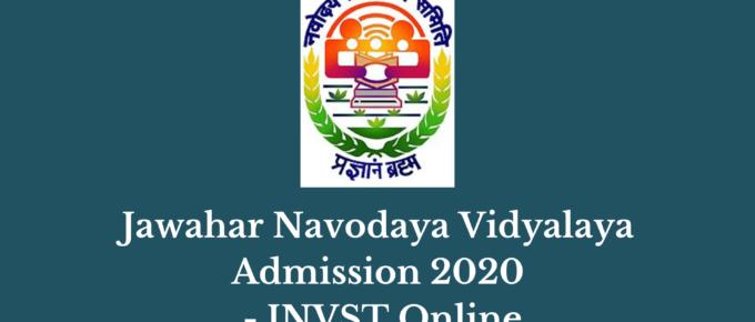 Jawahar Navodaya Vidyalaya Admission 2020 - JNVST Online