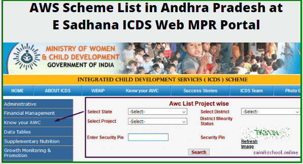 Check AWS Scheme List in Andhra Pradesh at E Sadhana ICDS Web MPR Portal